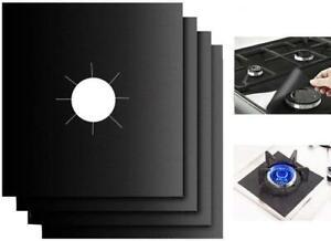 4x Stove Top Cooker Cover Reusable Protector Liner Non Stick Gas Mat Black