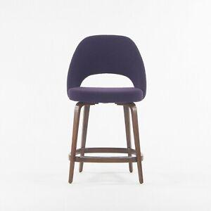 2021 Eero Saarinen Knoll Executive Counter Stool w/ Walnut Base in Purple Boucle