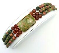 Vintage 50's Three Strand Beaded Unakite Carnelian Cabochon Gemstone Bracelet