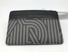 DKNY Card Holder Wallet Crosswalk Coated Logo Charcoal and Black