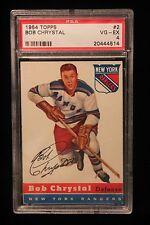 1954 Topps #2 Bob Chrystal PSA 4 VG-EX (Rookie Card) New York Rangers NICE