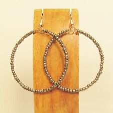 "2"" Silver Color Lightweight Single Hoop Bohemian Handmade Bali Seed Bead Earring"