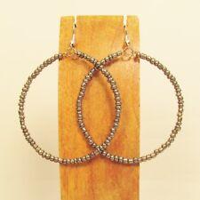 "2"" Silver Color Lightweight Single Hoop Bohemian Handmade Bali Seed Bead Earring"