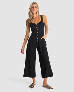 Billabong BNWT Women's Crossfire Linen Blend Black Jumpsuit Size 14