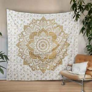 Gold Mandala Wall Hanging Home Decor Throw Tapestry Bedsheet White Hippie Twin