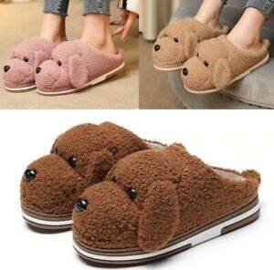 Women Cartoon Dog Faux Fur Furry Slippers Winter Indoor House Mules Plush Shoes
