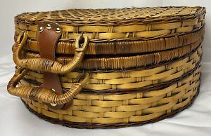 Traditional Wicker Picnic Basket Round Top with Settings for Four - 20 Pieces