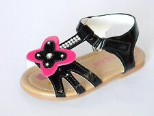 New Baby Toddler Girls T-Strap Sandals Rhinestones Black Fuchsia White Summer
