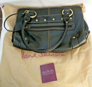 JANE SHILTON BLACK REAL LEATHER BAG with Protector Bag