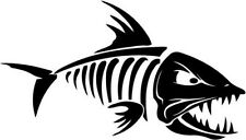 "Fish Skeleton Fishing Hunting Sportsman Decal Sticker- 6"" Wide White Color"