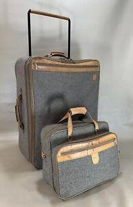 "Vintage Hartmann Tweed Luggage Set 15"" Tote & 27"" Upright Wheeled Suitcase"