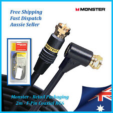 Monster Cable - F-Pin Coaxial RG6 2mtr - Foxtel, Aerial, Antenna, Coax Lead Cord