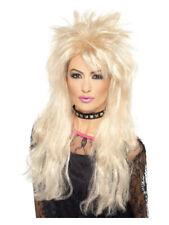 Blonde 80's Long Mullet Wig Adult Women's Fancy Dress Costume