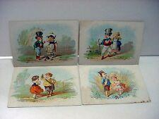 Lot of 4 Antique/Victorian KID COUPLES Series Cards:Rifle,Sword,Cane,Broken Jug