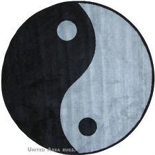 "51"" x 51""  Round  Rug  Ying Yang   Kung Fu  Design  Black & Gray Sports 5x5  New"