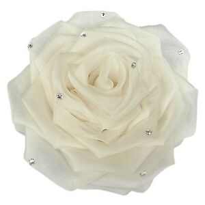 IVORY Bridal Rose Flower Corsage Wedding Brooch with Swarovski Crystals