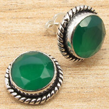 "925 Silver Plated! Genuine GREEN ONYX Studs Earrings 0.6"" Diameter!"
