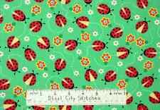 "Quilting Treasures All The Buzz Ladybug Green Garden Bugs Cotton Fabric - 25"""