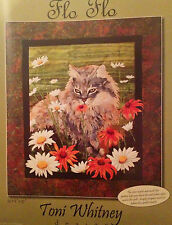 Flo Flo Art Quilt Pattern by Toni Whitney persian cat daisies coneflower quilt
