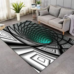 3D Square Black Optical Illusion Rectangle Rug Carpet Mat Living Room Bedroom