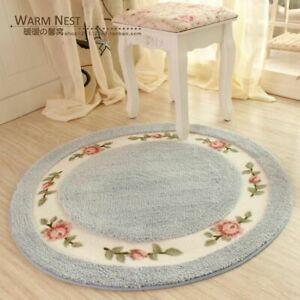 Pastoral Flower Doormat Soft Plush Round Rotating Floor Mat Bathroom Carpet