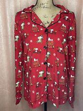 BedHead Women size XL THE PEANUTS Print Knit Cotton Christmas Red Pajama Set