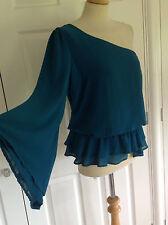 BNWT WAREHOUSE £45 stunning teal green flared sleeve one shoulder top UK 14