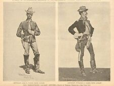 Frederic Remington, 2 Distinguished Cavalry Officers, Vintage 1890 Antique Print