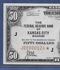 "1929 $50 FRBN ""KANSAS CITY"" ♚♚STAR♚♚ LOW S/N:J00000124*   PCGS CH ABOUT NEW 55"
