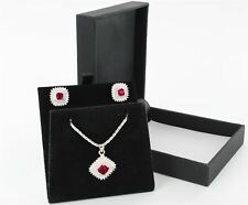 Silver Vintage Design Pink & Clear CZ Stone Set Pendant Necklace & Earrings Set