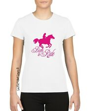 """MEDIUM """"BORN TO RIDE"""" HORSE RIDING EQUESTRIAN T-SHIRT Great 4 Stables or Club"""