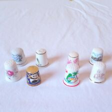 Vintage 8 Thimbles porcelain Ring Sewing Ring Finger Protector Stitching Tools