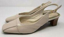 Vintage Ladies Shoes UK 4 1/5 Beige Slingbacks Square Toe Leather 60s 70s Style