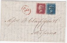 "RRR GB USED ABROAD MALTA ""M"" Cancel QV 1859 SG45 2d SG40 1d + Paid Mark To Italy"