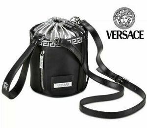 BRAND NEW 100% GENUINE VERSACE BLACK & SILVER BACKPACK BUCKET BAG CROSSBODY