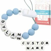 Blue Personalised Dummy Clip Name Pacifier Chain Binky Holder Baby Shower Gift