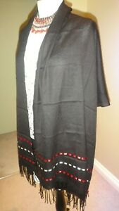 """Pashmina Style Black With Red & Ivory Ribbon Scarf / Wrap 80"""" X 24"""""""