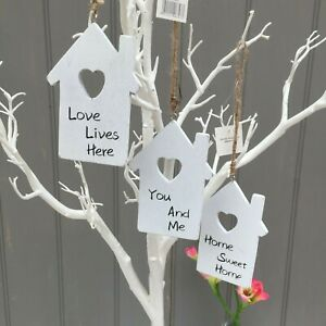 Little Shabby House Shaped Hanging Signs Heart Cut Out Wishing Tree,Wall Plaques