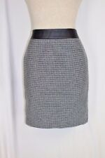 ANN TAYLOR Straight Pencil Skirt 4P PETITE SMALL Black White Lined Career