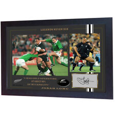 Jonah Lomu All Black Rugby Union Autograph photo signed print Framed MDF