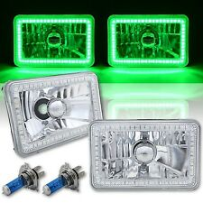 4X6 Green SMD LED Halo Angel Eye Headlight Headlamp 60W Halogen Light Bulbs Pair