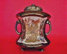 Meiji Period Japanese Satsuma Gosu Blue Ground IMPERIAL Satsuma Jar + Silver Lid