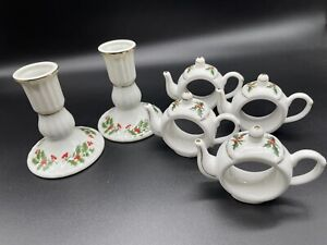 """Set of 4 Fine Bone China """"A Cup of Christmas Tea"""" Napkin Rings and Candle sticks"""