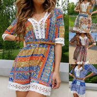 Summer Boho Women V-Neck Floral Print Mini Dress Sexy Lace Half Sleeve Sundress