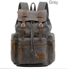 Travel Canvas Leather Backpack Sport Rucksack Campe School Satchel Hiking Bag