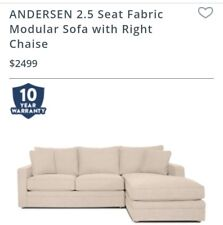 Freedom Andersen 2.5 seater fabric Modular with right Chaise in Ecru Ta ORP$2499