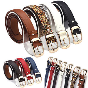 Mens Ladies Leather Pin Buckle Belts Waist Waistband Belted For Jeans Trousers
