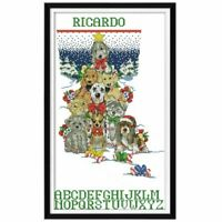 Dog Christmas Stocking Counted 14CT DIY Embroidery Cross Stitch Kit Craft