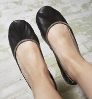 Carlo Pazolini Made In Italy Designer Brown Leather Foldable Flats W/ Bag SZ 8