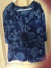 SIZE 16 BLUE PRINT TOP ,WITH COLLAR, SHORT SLEEVES